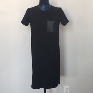 Madewell black dress with faux leather pocket